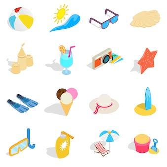 Ikony plaży w izometryczny styl 3d. letnie wakacje elementy zestaw ilustracji wektorowych kolekcji