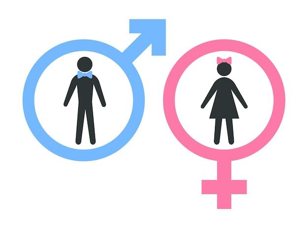 Ikony płci męskiej i żeńskiej. znak wc mężczyzna i kobieta. symbolem seksu.