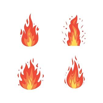 Ikony płomienia ognia w stylu kreskówki płomienie o różnych kształtach