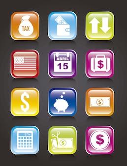 Ikony podatków na czarnym tle ilustracji wektorowych