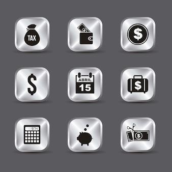 Ikony podatków na szarym tle ilustracji wektorowych