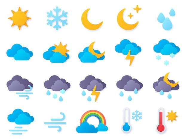 Ikony pogody cięcia papieru. symbole deszczu, tęczy, słońca, gorąca i zimna, zimowego śniegu i chmur. meteo prognoza piktogram wektor zestaw. deszczowa pogoda, papierowe rzemiosło meteorologia ikony ilustracja