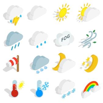 Ikony pogody w izometryczny styl 3d na białym tle. ilustracji wektorowych