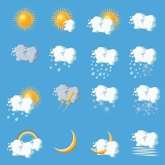 Ikony pogody w stylu cartoon na niebieskim tle.