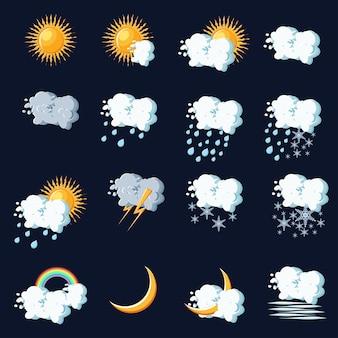 Ikony pogody w stylu cartoon