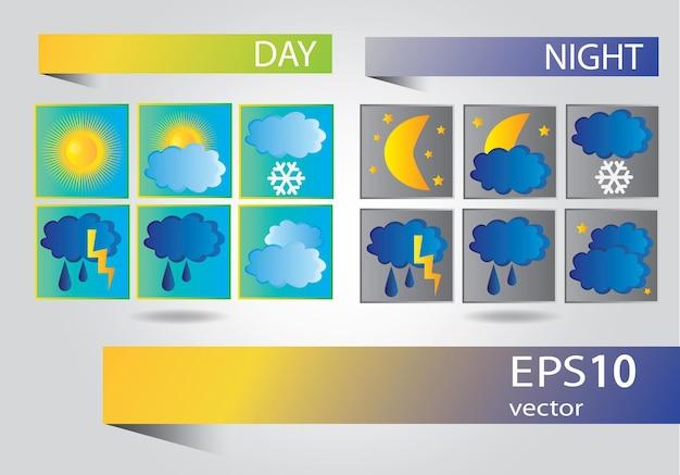 Ikony pogody - wektor zestaw do projektowania