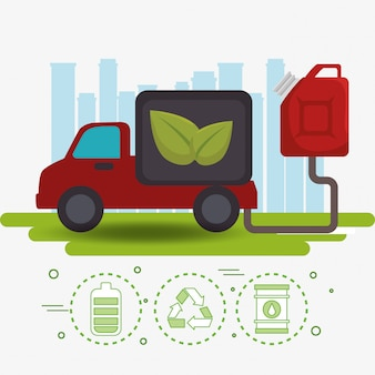Ikony pojazdu ekologia samochodu