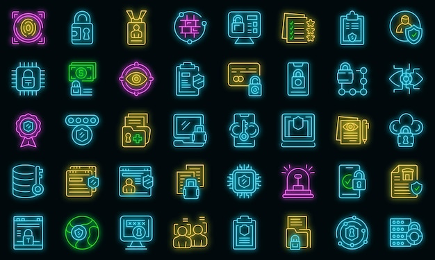 Ikony polityki prywatności ustawić wektor zarys. standard bezpieczeństwa rodo. bezpieczeństwo danych w europie