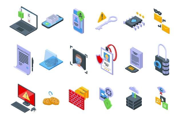 Ikony polityki prywatności zestaw izometryczny wektor. bezpieczeństwo pkb