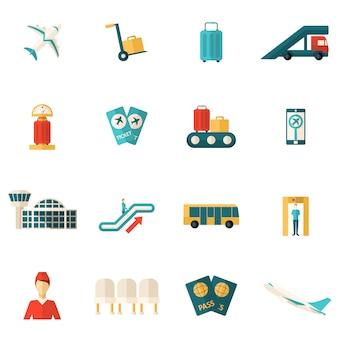 Ikony portów lotniczych płaskie