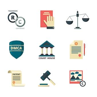Ikony praw autorskich. firma biznesowa prawo prawne jakość administracja polityka regulacje zgodność płaskie kolorowe symbole