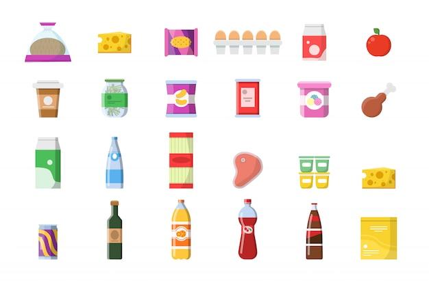Ikony produktów spożywczych. sklep spożywczy koszyk mięsne napoje bezalkoholowe ser makaron makaron jogurt zakupy wektor zbiory na białym tle