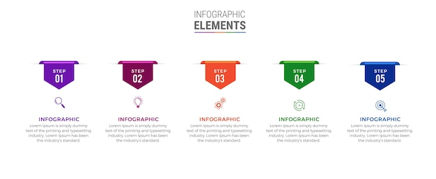 Ikony projektowania biznesowego infografika 5 opcji lub kroków premium