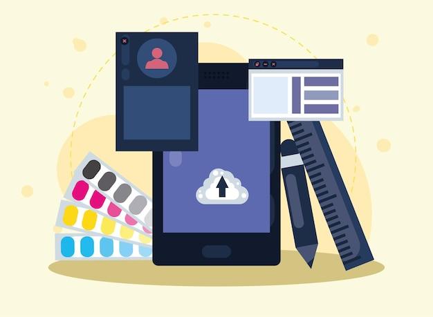 Ikony projektowania smartfonów i stron internetowych