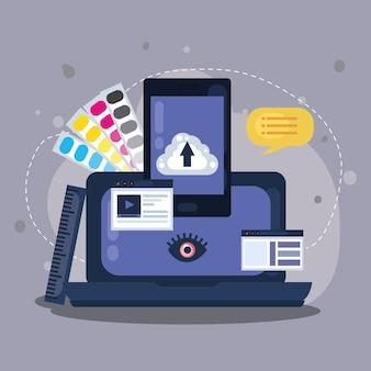 Ikony projektowania stron internetowych na smartfony i laptopy