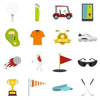 Ikony przedmiotów golfowych w stylu płaskiego