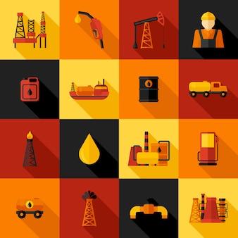 Ikony przemysłu naftowego płaskie