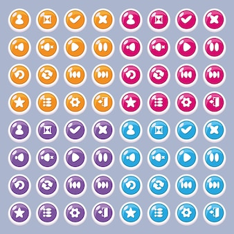 Ikony przycisków do projektowania interfejsu gry i aplikacji (ustawienia, odtwarzanie, pauza, profil, wyjście).