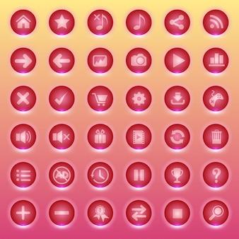 Ikony przycisków gui dla interfejsów gry mają kolor czerwony.