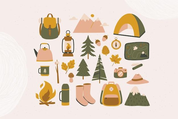 Ikony przygody w lesie w nowoczesnym stylu płaski