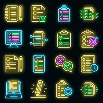Ikony przypisania ustawić wektor neon