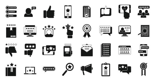 Ikony recenzji produktu zestaw prosty wektor. ankieta online. sprzedaż reputacji