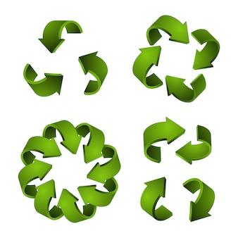 Ikony recyklingu 3d. zielone strzałki, recykling symboli na białym tle
