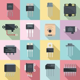 Ikony regulatora napięcia zestaw płaski wektor. argon z baterii