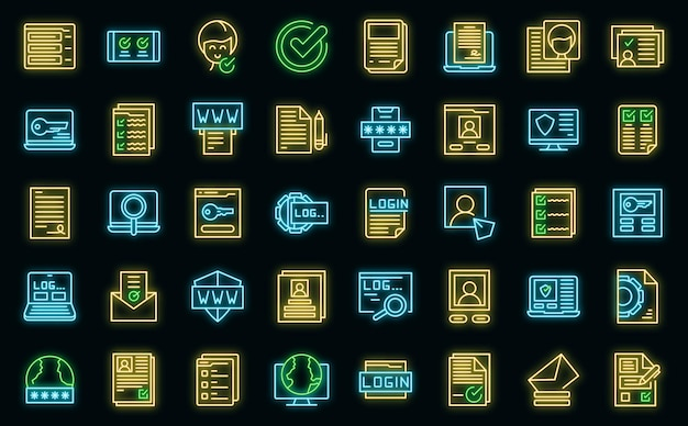 Ikony rejestracji wektor zestaw neon