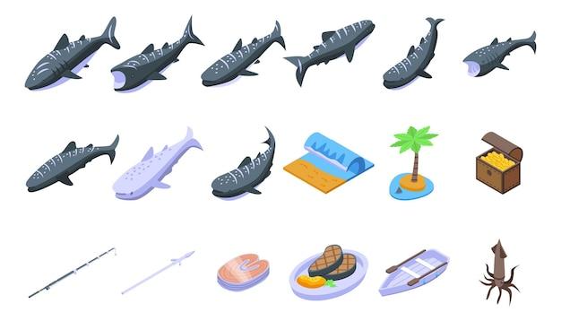 Ikony rekin wielorybi zestaw izometryczny wektor. ryba zwierzę