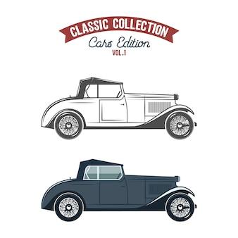 Ikony retro samochodów, płaski kolor i styl monochromatyczny.
