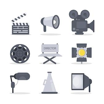 Ikony reżysera filmowego z aparatem i światłem.