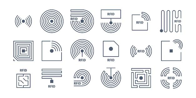 Ikony rfid. znakowanie radiowe chipy identyfikacji bezprzewodowych półprzewodników zakupy symboli częstotliwości wektorów. częstotliwość identyfikacji, ilustracja innowacji elektronicznej chipa