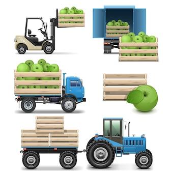 Ikony Rolnictwa Na Białym Tle Premium Wektorów