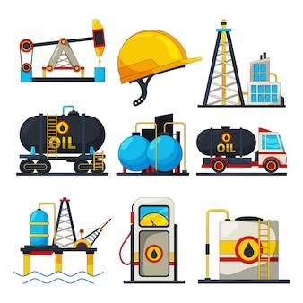 Ikony ropy naftowej i gazu. s izolować na białym tle