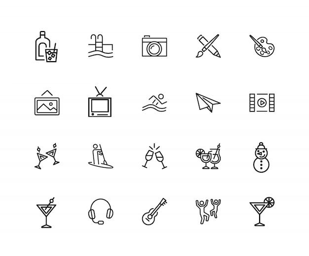 Ikony rozrywki. zestaw dwudziestu linii ikon. malowanie, spływy kajakowe, taniec.