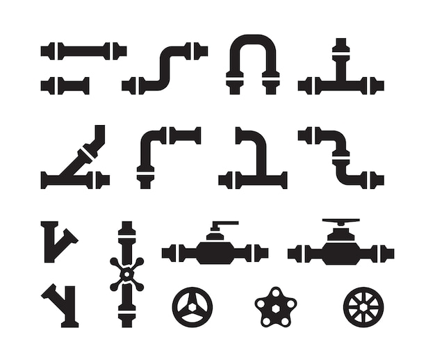 Ikony rur. przemysł metalowy rurociągi wodociągowe konstrukcje zaworowe złącza sylwetki rur stalowych wektorowych. część rury rurowej, rurociąg do ilustracji wody