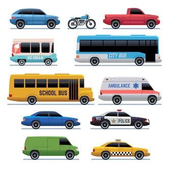 Ikony samochodów. autobus komunikacji miejskiej, samochody i rowery, ciężarówka. symbole kreskówek pojazdu