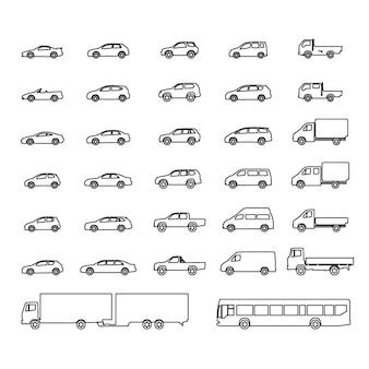 Ikony samochodów duży zestaw ilustracji wektorowych pojazdów