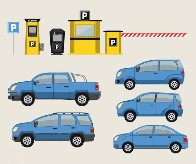 Ikony samochodów i parkingu