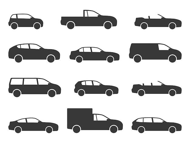Ikony samochodów. różne czarne sylwetki widok z boku pojazdu, samochody do podróży, modele auto sedan i hatchback, ciężarówka i pickup, minivan i kabriolet, transport kształty web znaki wektor na białym tle zestaw
