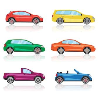 Ikony samochodów zestaw 6 różnych kolorowych samochodów sportowych