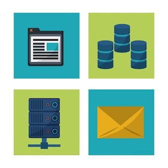 Ikony serwera komputerowego oraz okna poczty i programu