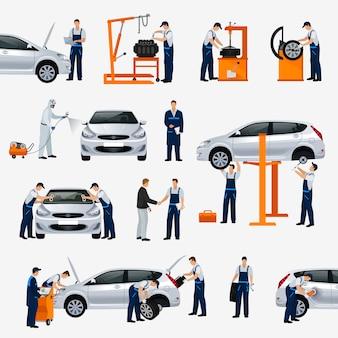Ikony serwis samochodowy, różni pracownicy w trakcie naprawy samochodu, serwis opon, diagnostyka, malowanie pojazdów, części zamienne do wymiany szyb. ilustracja