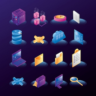 Ikony sieci centrum danych