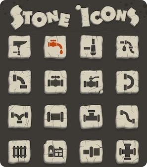 Ikony sieci kanałów na kamiennych blokach w stylu epoki kamienia do projektowania interfejsu użytkownika