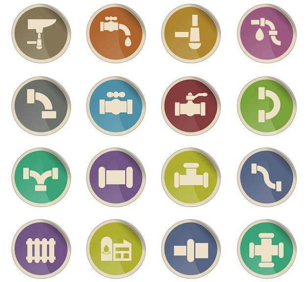 Ikony sieci kanałów w postaci okrągłych etykiet papierowych