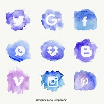 Ikony sieci społecznych z akwarelą powitalny