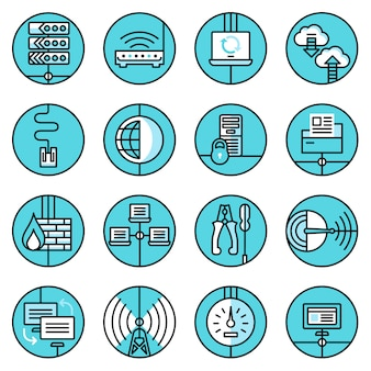 Ikony sieci ustawić niebieską linię