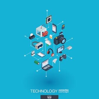 Ikony sieci web zintegrowanej technologii. koncepcja interakcji izometrycznej sieci cyfrowej. połączony graficzny system kropkowo-liniowy. tło z bezprzewodowym drukowaniem i wirtualną rzeczywistością. infograf